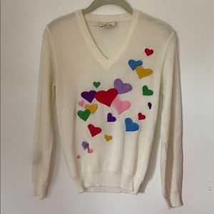 Vintage cyn les embroidered rainbow heart sweater